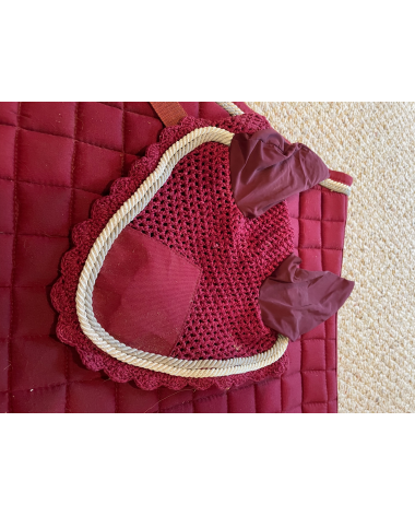 Maroon Saddle pad and Earbonnet Set