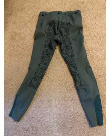Piper by SmartPak Sage Green with Floral Accents Silicone Full Seat Breeches Sage Green 28L