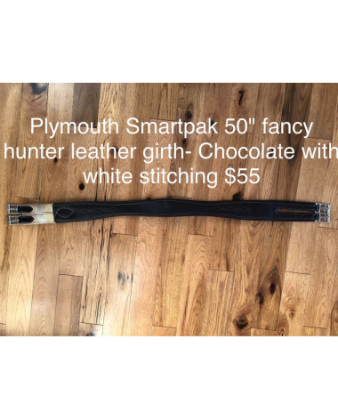 "Plymouth® Fancy Hunter Girth by SmartPak 50"" chocolate with white stitching"