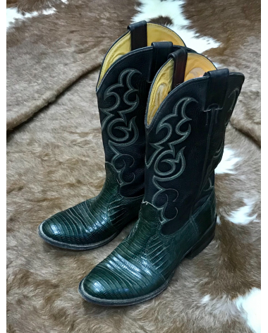 Lizard Nacona Green and Black Cowboy Boots