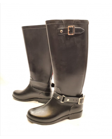 Dav Black Weatherproof Luxury Belted Equestrian Boots - US Women's 8 - New!