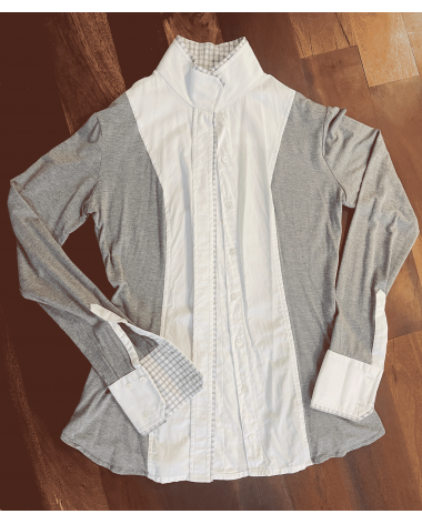 Used Once- Small, Heather Grey/White, Magnetic Collar Le Fash Show Shirt