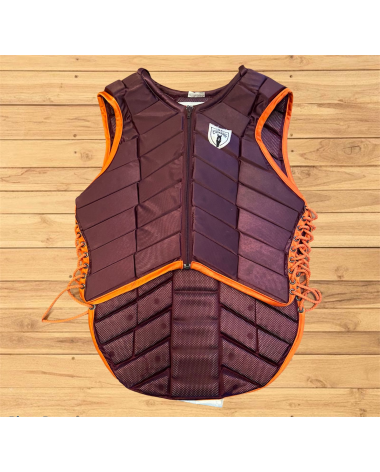 Tipperary Eventer Vest Adult Small Burgundy/Orange Piping