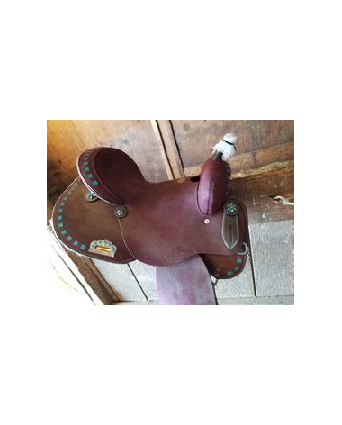 Circle S Roughout Barrel Saddle with Turquoise Buckstitch Trim