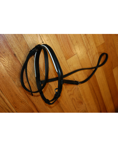 Black Dressage Noseband w/ Flash - White Trim