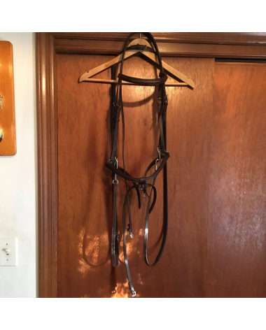 Tekna Training Bridle & Reins w/clip Ends, Brown, Fancy Stitched Raised. Horse Size