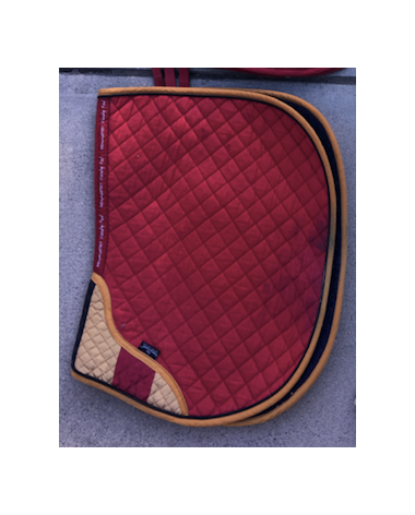 Multicolored/Red Saddle Pad with Wither Padding