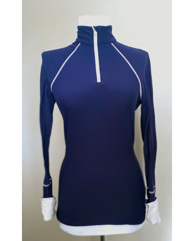 Used navy GhoDho riding shirt with white accents