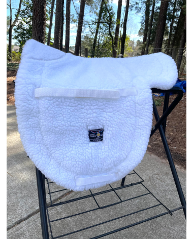 Toklat SuperQuilt dressage pad, white fleece cotton/poly mix, billet and girth straps included