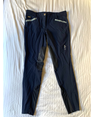 Iago Breeches - IT 44 (US size 30) - Navy with Flower Trim