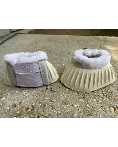 Fuzzy top bell boots with Velcro pony size