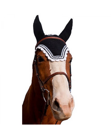 Equine Couture Horse Fly Bonnet With Silver Lurex, Black/White, Full