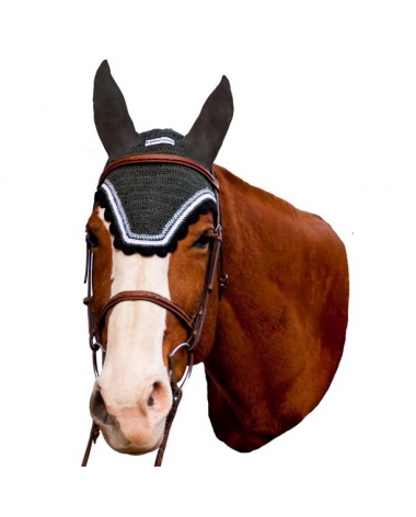 Equine Couture Horse Fly Bonnet With Silver Lurex, Dark Charcoal/Black, Full